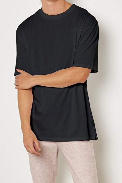 Erkek Siyah Pamuklu Kısa Kollu Tişört