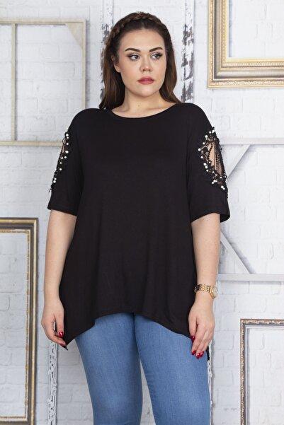 Kadın Siyah Dantel Ve İnci Detaylı Viskon Bluz 65N22725