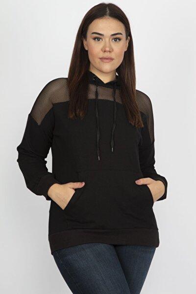 Kadın Siyah Kapşonlu Tül Detaylı Sweatshirt 65N19481