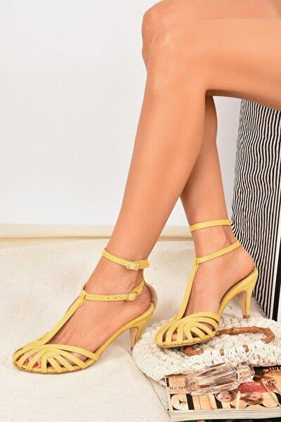Kadın Sarı Süet Topuklu Ayakkabı K749190302