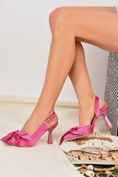 Kadın  Fuşya Saten Kumaş Topuklu Ayakkabı K922164804
