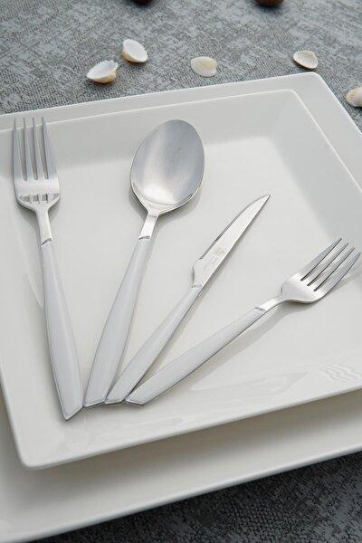 Nadia Beyaz Paslanmaz Çelik 24 Parça Çatal Kaşık Bıçak Takımı