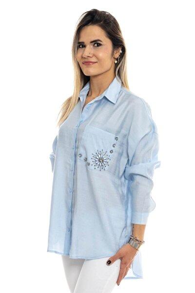Kadın Mavi Taşlı Gömlek