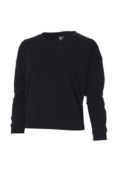 Kadın Siyah Günlük Stil Sweatshirt