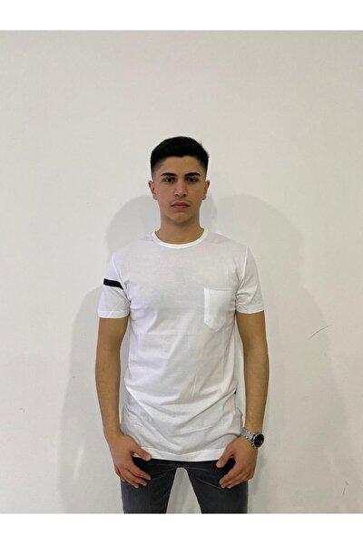 Beyaz Uzun Cepli Erkek T-shirt