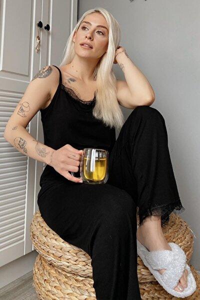 Kadın Siyah Dantelli İp Askılı Örme Pijama Takımı