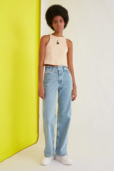 Mavi Bel Detaylı Yüksek Bel 90's Wide Leg Jeans TWOSS21JE0385