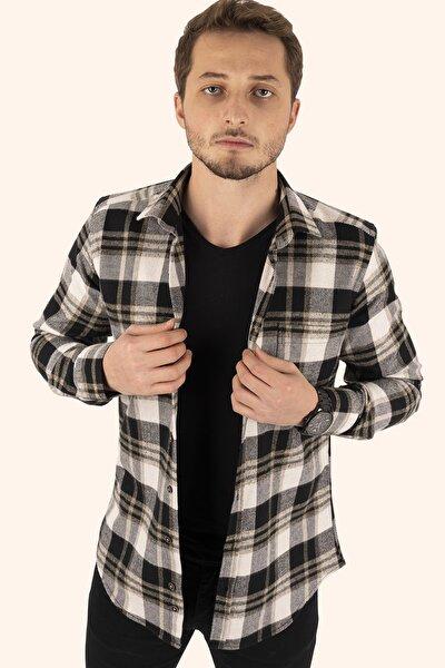Erkek Kahve Beyaz Kareli Kışlık Oduncu Gömlek