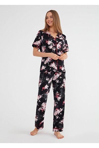 Kadın Siyah Baskili Felicity Maskulen Pijama Takımı