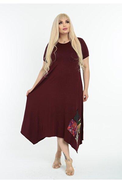 Kadın Bordo Asimetrik Kesim Yama Detaylı Kısa Kollu Viskon Büyük Beden Elbise