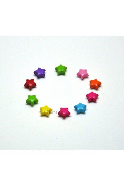 Yıldız Model Renkli Plastik Boncuk ( 10 Adet ) 10 Mm