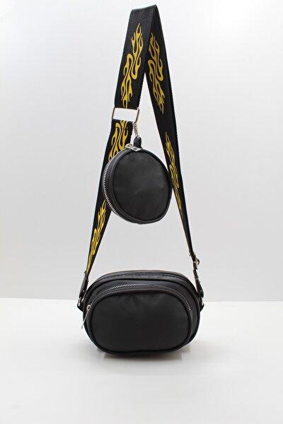 Kadın Siyah Mini Cepli Kolon Askılı Çapraz Çanta