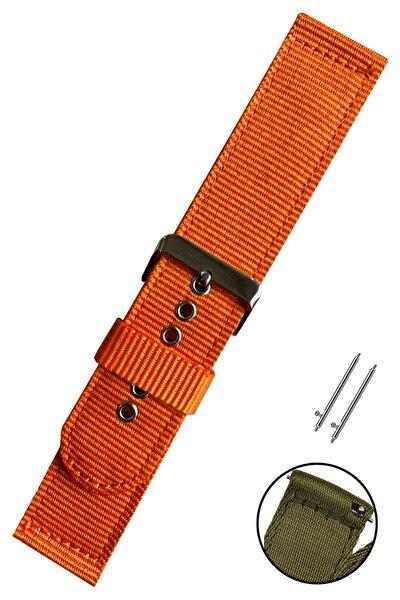 24mm Saat Uyumlu Turuncu Renk Akıllı Pimli Çift Parça Nato Bez Perlon Saat Kordonu Kayışı