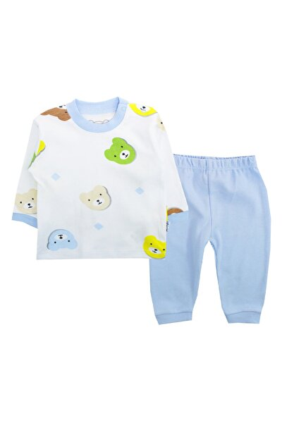 Erkek Bebek Mavi Ay Pijama Takım