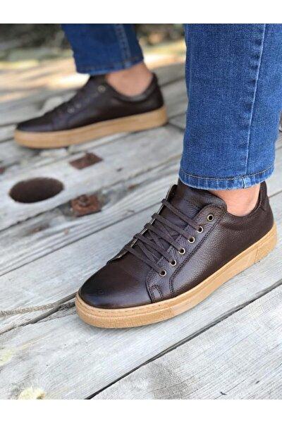 Erkek Kahverengi Hakiki Deri Günlük Ayakkabı