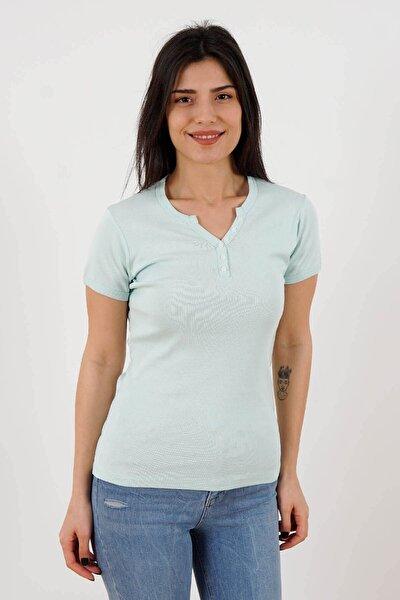 Trender 025 Kadın Düğmeli V Yaka T-shirt Mint