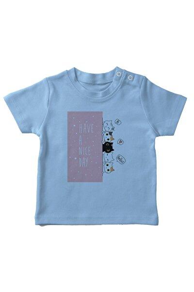 Baby Şirin Kediler Erkek Bebek Tişört Mavi