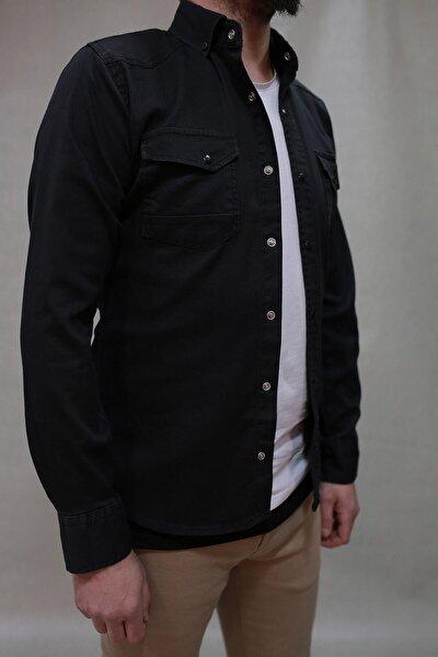 Erkek Siyah Çift Cepli Çıtçıtlı Kot Gömlek 00064