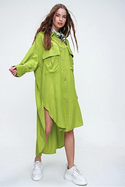 Kadın Yeşil Önü Cepli Yanı Yırtmaçlı Asimetrik Kenarlı Poplin Gömlek Elbise ALC-X5942