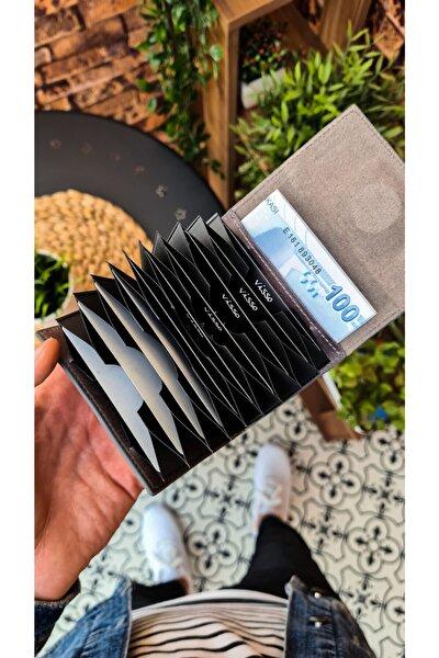 Visso 660 Gri Natural Hakiki Deri Akordeon Deri Kredi Kartlık Bay Bayan Deri Cüzdan Çanta