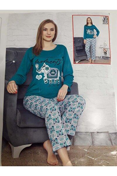Kadın  Yeşil Penye Pijama Takımı