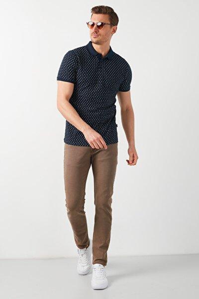 Erkek Lacivert Pamuklu Desenli Polo Yaka T Shirt 5968003