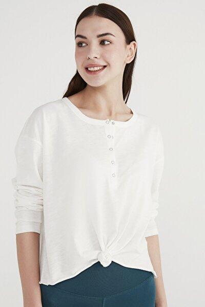 Kadın Beyaz Knotted Long Sleeve Tişört