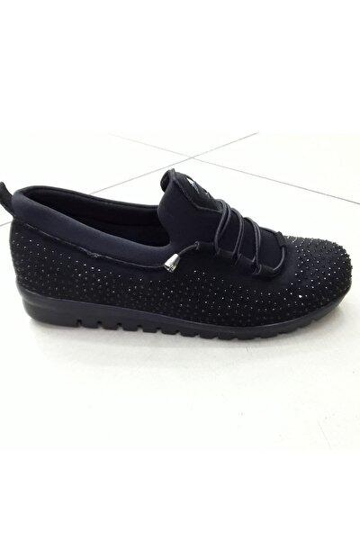 Taşlı Siyah Düz Taban Kadın Klasik Sneaker Anne Ayakkabı