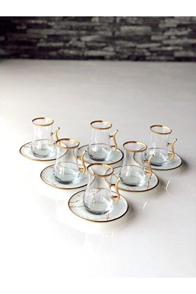 Beyaz Mermer Kulplu 12 Prç Çay Seti