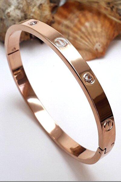 Kadın Metalik Zirkon Taşlı Paslanmaz Çelik Cartier Bilezik 18 Cm