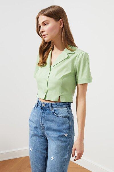 Yeşil Crop Gömlek TWOSS21GO0543