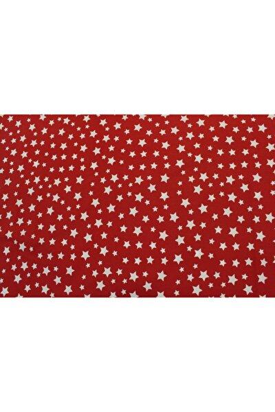 Kırmızı Zemin Beyaz Yıldızlı Pamuklu Nevresimlik Poplin Kumaş