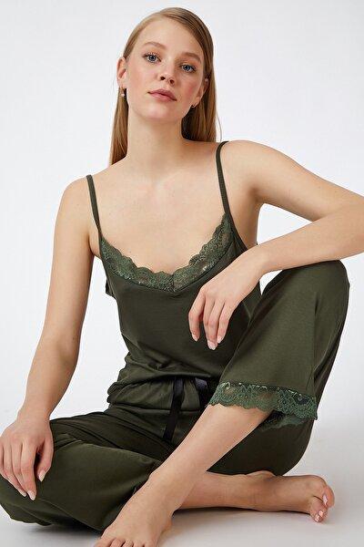 Kadın Haki Dantelli Örme Pijama Takımı ZV00066
