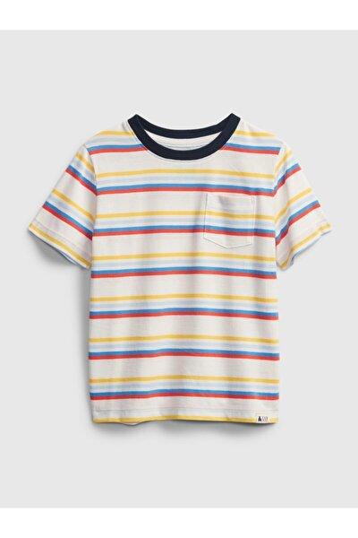 Erkek Çocuk Beyaz Organik Pamuklu Çizgili T-shirt