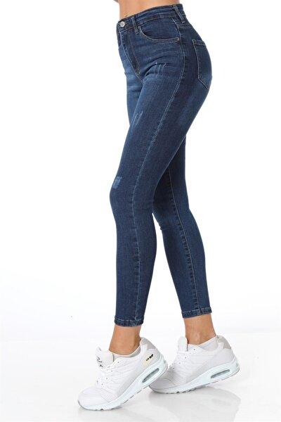 Yüksel Bel Dar Paça Pantolon - Lacivert