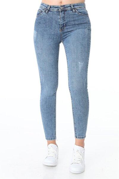 Yüksek Bel Openet Tırnaklı Kot Pantolon - Mavi