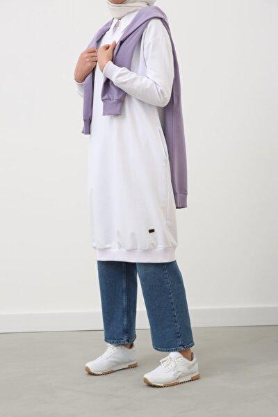 Beyaz Basic Pamuklu Sweat Tunik