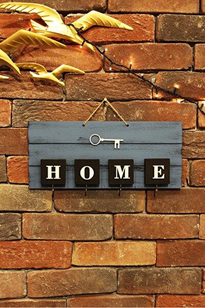 El Yapımı Home Yazılı Ahşap Mavi Anahtarlık