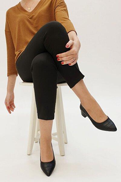 Kadın Siyah Croco Günlük Klasik Topuklu Ayakkabı Apunte
