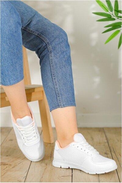 Kadın Beyaz Fileli Spor Ayakkabı