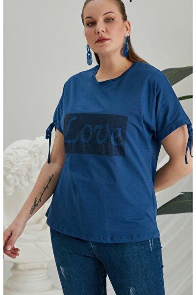 Love Pullu Pamuk Tşört Mavi