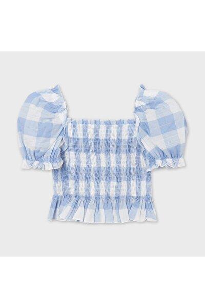 Kız Çocuk Mavi Ekose Bluz