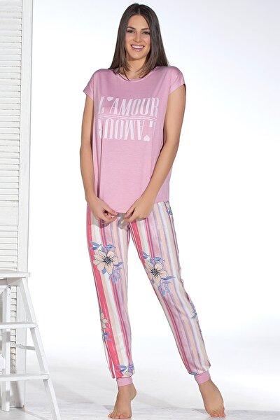 Kadın Pembe Baskılı Pijama Takım 12895