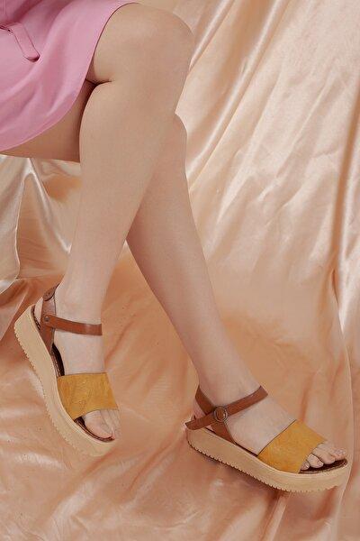 Kadın Sarı Günlük Hakiki Deri Sandalet