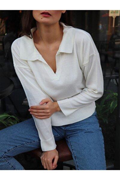 Kadın Krem Rengi Salaş Polo Yaka Triko