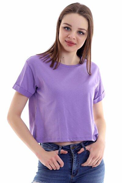 Kadın Lila Kısa Kolu Katlı Kısa Salaş T-shirt