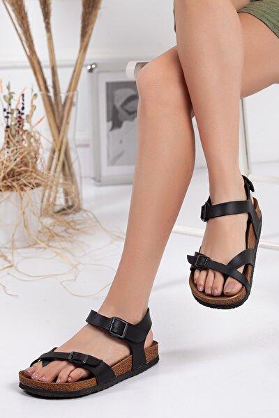 Siyah Çift Toka Sandalet