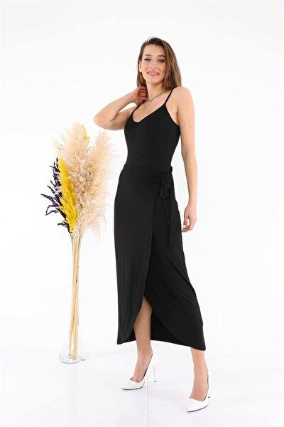 Yandan Bağlamalı Kuşak Detay Esnek Kumaş Askılı Elbise