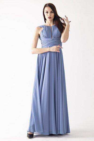 Kadın Indigo Halter Yaka Drape Detaylı Abiye & Mezuniyet Elbisesi 1607838