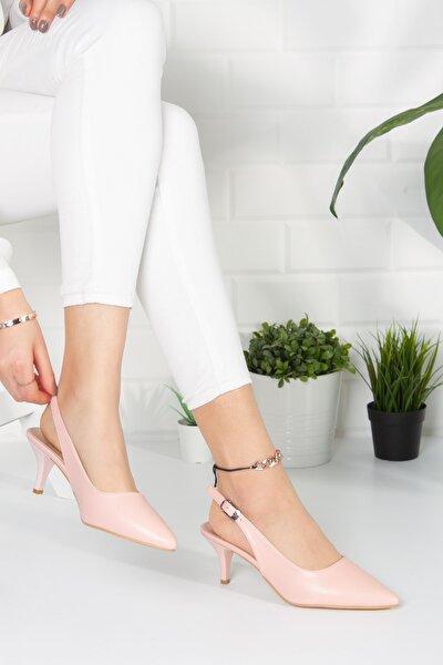 Kadın Pudra Analin Topuklu Casual Ayakkabı